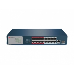 HiWatch DS-S1816P(B) - Коммутатор 16 портов, 16 PoE, 1Uplink + 1 SFP порты